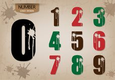 Abstract number set of logo style with cracking. Abstract number set of logo style, with cracking and runoff fluid, vector illustration Royalty Free Stock Image
