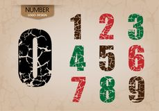 Abstract number set of logo style cracking vector. Illustration Royalty Free Stock Photography