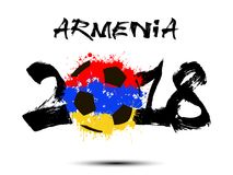 Abstract number 2018 and soccer ball blot. Abstract number 2018 and soccer ball painted in the colors of the Armenia flag. Vector illustration Stock Photo