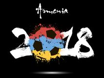 Abstract number 2018 and soccer ball blot. Abstract number 2018 and soccer ball painted in the colors of the Armenia flag. Vector illustration Stock Images