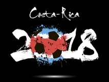 Abstract number 2018 and soccer ball blot. Abstract number 2018 and soccer ball painted in the colors of the Costa-Rica flag. Vector illustration Royalty Free Stock Images