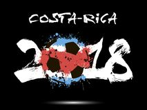 Abstract number 2018 and soccer ball blot. Abstract number 2018 and soccer ball painted in the colors of the Costa-Rica flag. Vector illustration Stock Photo