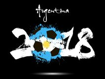 Abstract number 2018 and soccer ball blot. Abstract number 2018 and soccer ball painted in the colors of the Argentina flag. Vector illustration Stock Photography