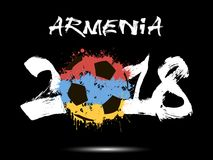 Abstract number 2018 and soccer ball blot. Abstract number 2018 and soccer ball painted in the colors of the Armenia flag. Vector illustration Royalty Free Stock Photos