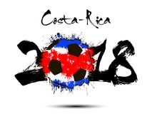Abstract number 2018 and soccer ball blot. Abstract number 2018 and soccer ball painted in the colors of the Costa-Rica flag. Vector illustration Royalty Free Stock Image