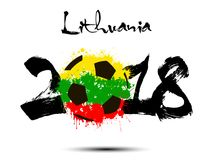 Abstract number 2018 and soccer ball blot. Abstract number 2018 and soccer ball painted in the colors of the Lithuania flag. Vector illustration Stock Photo