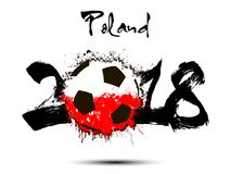 Abstract number 2018 and soccer ball blot. Abstract number 2018 and soccer ball painted in the colors of the  Poland flag. Vector illustration Stock Image