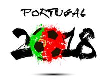 Abstract number 2018 and soccer ball blot. Abstract number 2018 and soccer ball painted in the colors of the Portugal flag. Vector illustration Stock Photography