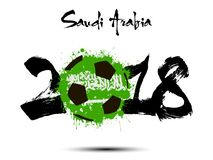 Abstract number 2018 and soccer ball blot. Abstract number 2018 and soccer ball painted in the colors of the Saudi Arabia flag. Vector illustration Royalty Free Stock Photography