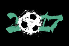 Abstract number 2017 and soccer ball. Blot. Vector illustration Royalty Free Stock Photo