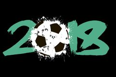 Abstract number 2018 and soccer ball. Blot. Vector illustration Royalty Free Stock Photo