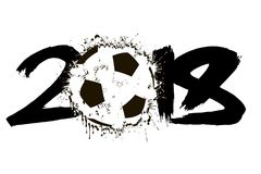 Abstract number 2018 and soccer ball. Blot. Vector illustration Stock Image
