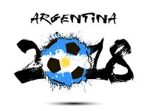 Abstract number 2018 and soccer ball blot. Abstract number 2018 and soccer ball painted in the colors of the Argentina flag. Vector illustration Stock Image