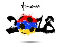 Abstract number 2018 and soccer ball blot. Abstract number 2018 and soccer ball painted in the colors of the Armenia flag. Vector illustration Stock Photos