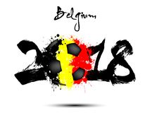 Abstract number 2018 and soccer ball blot. Abstract number 2018 and soccer ball painted in the colors of the Belgium flag. Vector illustration Royalty Free Stock Photo