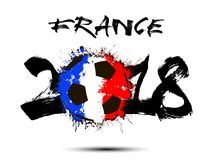 Abstract number 2018 and soccer ball blot. Abstract number 2018 and soccer ball painted in the colors of the France flag. Vector illustration Stock Photos