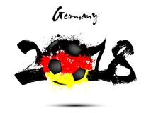 Abstract number 2018 and soccer ball blot. Abstract number 2018 and soccer ball painted in the colors of the Germany flag. Vector illustration Stock Images