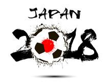 Abstract number 2018 and soccer ball blot. Abstract number 2018 and soccer ball painted in the colors of the Japan flag. Vector illustration Stock Photos