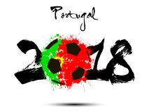 Abstract number 2018 and soccer ball blot. Abstract number 2018 and soccer ball painted in the colors of the Portugal  flag. Vector illustration Stock Photo