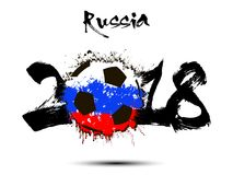 Abstract number 2018 and soccer ball blot. Abstract number 2018 and soccer ball painted in the colors of the Russia flag. Vector illustration Stock Photo
