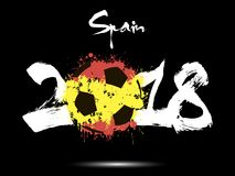 Abstract number 2018 and soccer ball blot. Abstract number 2018 and soccer ball painted in the colors of the  Spain flag. Vector illustration Stock Photography