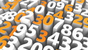 Abstract numbers background. Abstract 3d illustration of background with random numbers Stock Photos