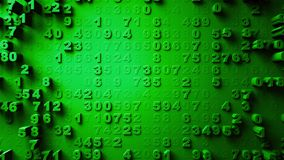 Abstract Numbers Random Motion. Green color 3d rendering royalty free stock photo
