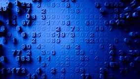Abstract Numbers Random Motion. 3d Royalty Free Stock Photos