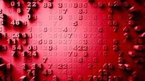 Abstract Numbers Random Motion. 3d Animation red color Royalty Free Stock Images