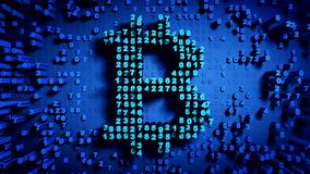 Abstract numbers Random motion in the form of coins bitcoin. Blue color 3d rendering Stock Images