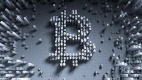 Abstract numbers Random motion in the form of coins bitcoin. 3d Stock Photo