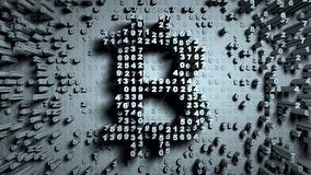 Abstract numbers Random motion in the form of coins bitcoin. Gray color 3d rendering Stock Image