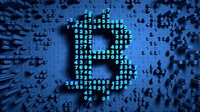 Abstract numbers Random motion in the form of coins bitcoin. Blue background stock footage