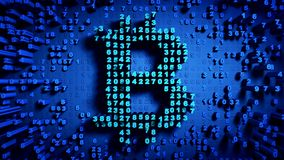 Abstract numbers Random motion in the form of coins bitcoin. Blue background 4K stock video footage