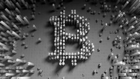 Abstract numbers Random motion in the form of coins bitcoin. 3d Stock Photography