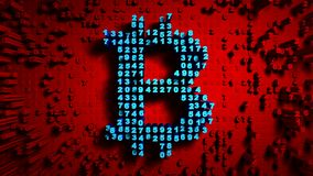 Abstract numbers Random motion in the form of coins bitcoin, Red color. Abstract numbers Random motion in the form of coins bitcoin, 3d animation 3D Stock Photography