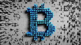 Abstract numbers Random motion in the form of coins bitcoin, 3d animation 3D rendering stock video