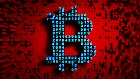 Abstract numbers Random motion in the form of coins bitcoin, Red color 4K stock video footage
