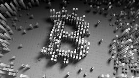 Abstract numbers Random motion in the form of coins bitcoin. 3d rendering Stock Image
