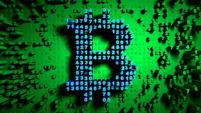 Abstract numbers Random motion in the form of coins bitcoin, Green color stock illustration