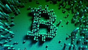 Abstract numbers Random motion in the form of coins bitcoin Stock Image