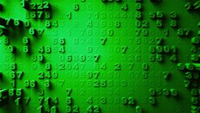Abstract Numbers Random Motion. Green color 3d rendering royalty free stock photos