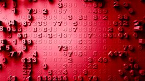 Abstract Numbers Random Motion red color 4K stock video footage