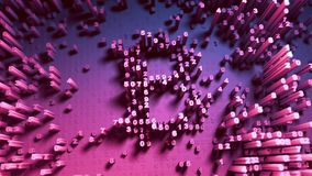 Abstract numbers Random movement in the form of coins bitcoin. Multicolor 4K. Abstract numbers Random movement in the form of coins bitcoin. 3D animation 3D Stock Photography