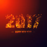 2017 abstract numeric. New year concept. With 3D illuminated explosion effect, glowing particles. Neon blast. Vector illustration Stock Images