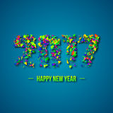 2017 abstract numeric. New year concept. With explosion effect. Colorful geometric elements, blue background. Vector illustration Stock Image