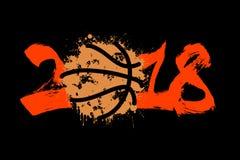 Abstract nummer 2018 en basketbal Stock Afbeeldingen