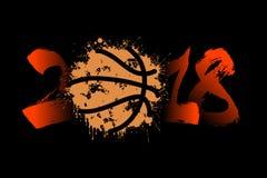 Abstract nummer 2018 en basketbal Royalty-vrije Stock Fotografie