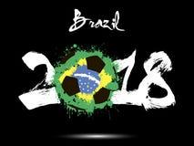 Abstract nummer 2018 en de vlek van de voetbalbal vector illustratie