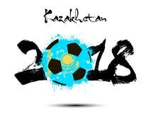 Abstract nummer 2018 en de vlek van de voetbalbal Royalty-vrije Illustratie